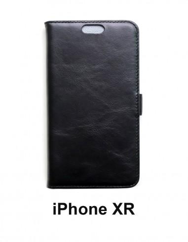 Etui anti-ondes iPhone XR cuir supérieur couleur noir (book)