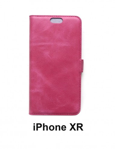 iPhone XR top leather anti-wave case rose color(book)
