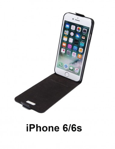 iPhone 6/6s black top leather anti-wave case (up-down)