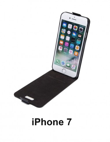 iPhone 7 black top leather anti-wave case (up-down)