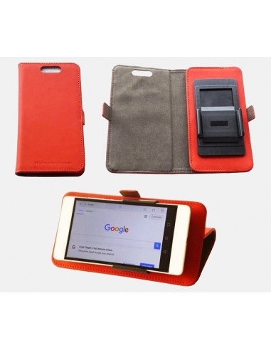 Etui anti-ondes universel grand format rouge simili-cuir (clips)