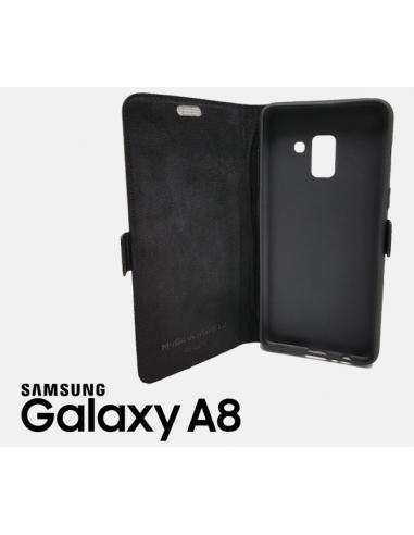 Etui anti-ondes Samsung Galaxy A8 (2018) cuir supérieur noir (book)
