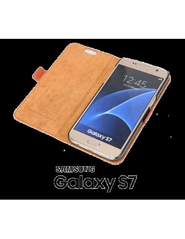 Etui anti-ondes Samsung Galaxy S7 cuir supérieur fauve (book)