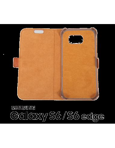 Etui anti-ondes Samsung Galaxy S6 / S6 Edge cuir supérieur fauve (book)