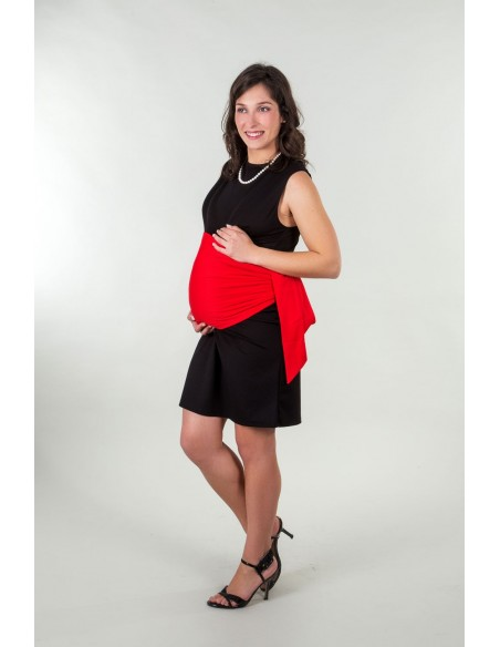 Bandeau de grossesse anti-ondes rouge.