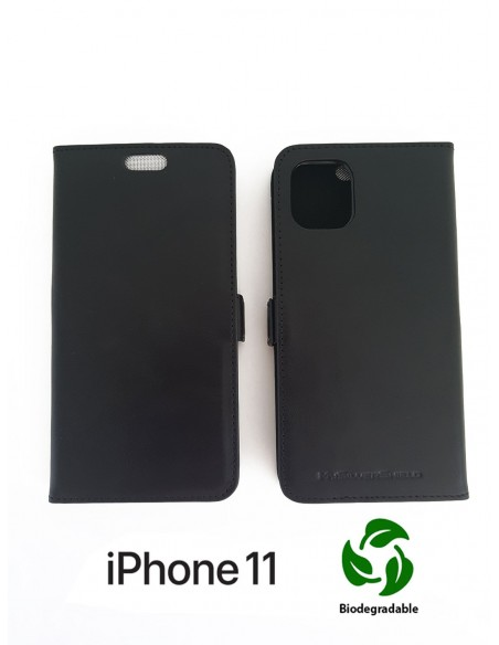 ETUI ANTI-ONDES IPHONE 11 CUIR SUPÉRIEUR NOIR (BIODÉGRADABLE)