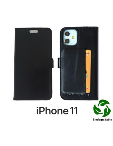 Etui anti-ondes iPhone 11 cuir noir (biodégradable & porte-carte)