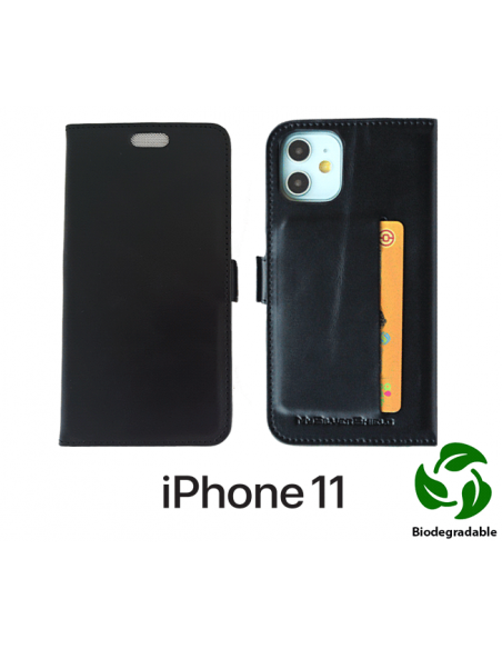 Etui anti-ondes iPhone 11 cuir noir (biodégradable & porte-carte)