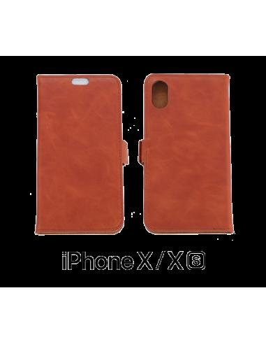 Etui anti-ondes iPhone X / XS cuir supérieur couleur fauve.