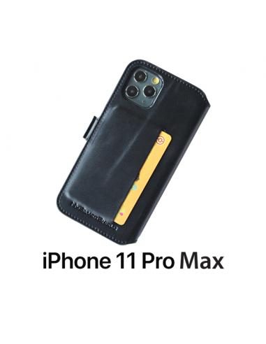 ETUI ANTI-ONDES IPHONE 11 PRO MAX CUIR SUPÉRIEUR NOIR (PORTE-CARTE)