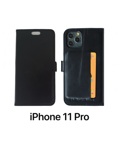 11 PRO - Etui anti-ondes iPhone  cuir noir (porte-carte)