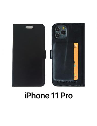 11 PRO - Etui anti-ondes iPhone  cuir noir (porte-carte)