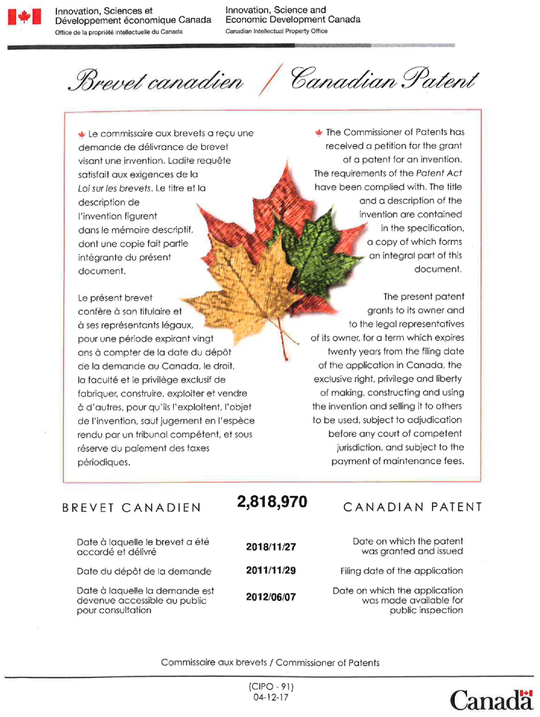 Brevet déposé au Canada